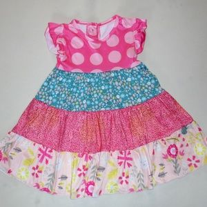 Toddler Girl Floral Dot Cotton Jersey Dress 3T NEW
